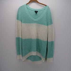 Rue21 V-NecK Sheer Mesh Knit Pullover Sweater